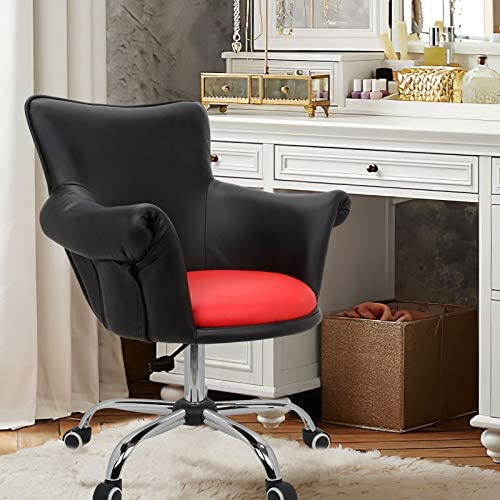 Magshion Office Desk Chair Bar Stool Beauty Nail Salon Spa Vanity Seat PULeather Black/Red
