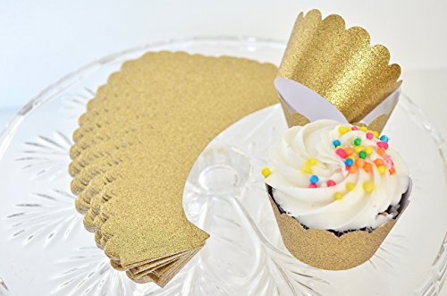 36 Handcrafted Gold Glitter Cupcake Wrappers - Standard Size