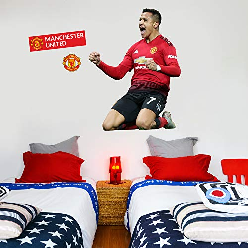 Beautiful Game Ltd Manchester United Football Club Official Alexis Sanchez Celebration Player Wall Sticker + Man Utd Logo Decals Vinyl Poster Print Mural Art (120cm Height)