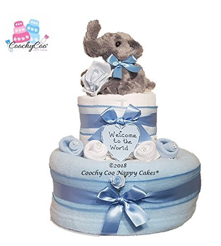 Baby Boys Blue Elephant Nappy Cake Hamper (Two Tier) FAST FREE DELIVERY Coochy Coo Nappy Cakes®