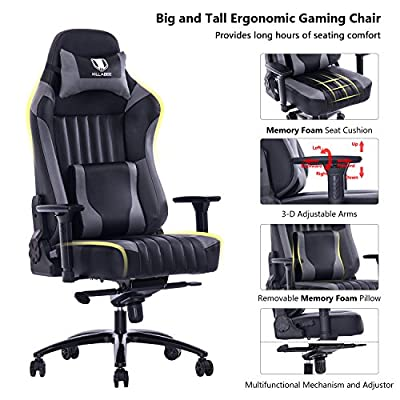 KILLABEE Big and Tall 400lb Memory Foam Gaming Chair Metal Base - Adjustable Tilt, Back Angle and 3D Arms Ergonomic High-Back Leather Racing Executive Computer Desk Office Chair from KILLABEE