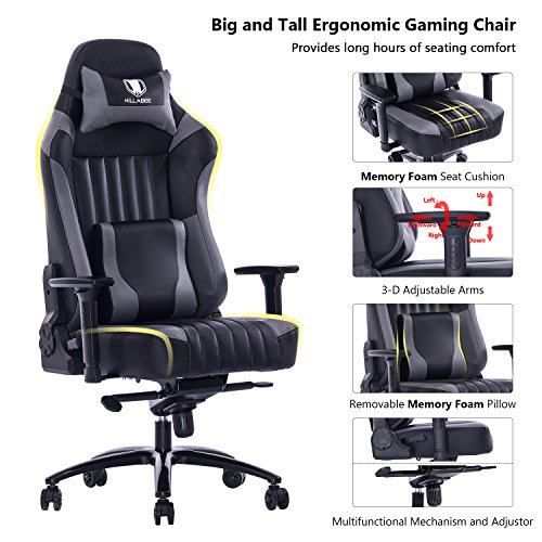 Leather Executive Office Chair - KILLABEE Big and Tall 400lb Memory Foam Gaming Chair - Adjustable Tilt, Back Angle and 3D Arms Ergonomic High-Back Leather Racing Executive Computer Desk Office Chair Metal Base, Grey