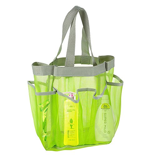 7 Pocket Shower Caddy Tote Portable Waterproof Tote Bag Toiletry Organiser Cosmetic Storage Bags for College Dorms, Gym, Shower, Swimming and Travel - Canvas/Mesh Green