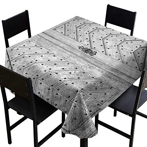 SKDSArts Microfiber Tablecloth Rustic Decor Collection,Old Door Exit Brads Nailed Penal Old Fashioned Culture Middle Ages Artwork Print,Wooden Gray,W70 x L70 Square Tablecloth ()
