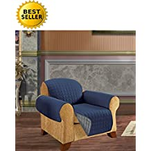 Reversible Furniture Protector! Elegant Comfort Luxury Slipcover/Furniture Protector Great for Pets & Children with STRAPS TO PREVENT SLIPPING OFF, Chair Size, Navy Blue/Gray