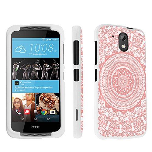 HTC Desire 526 Case, DuroCase ® Hard Case White for HTC Desire 526 Verizon (Released in 2015) - (Tribal Medallion Coral)