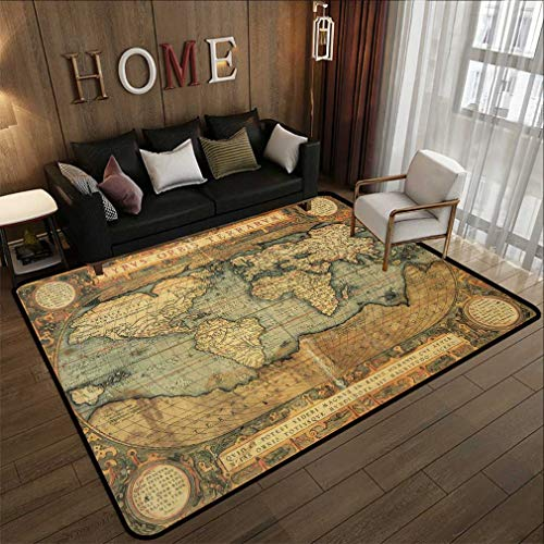 Nostalgic Map Decor Low Profile Area Rug Reproduction of 16th Century Map of The World and Color The Famous Dutch Cartographer Abraham Ortelius Floor Mat Living Room Bedroom Nursery Rug 5'3'' x 8'