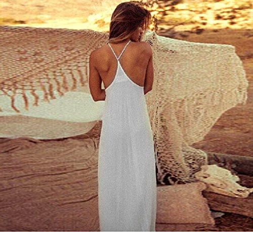 Culater® Robe en Mousseline de soie Femmes élégantes Crochet Boho Longue Maxi Parti Soirée