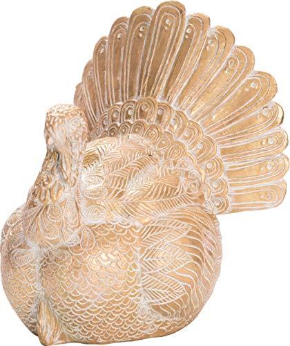 Transpac Imports, Inc. Elegant Thanksgiving Turkey Gold Toned 9 x 8 Resin Stone Harvest Figurine