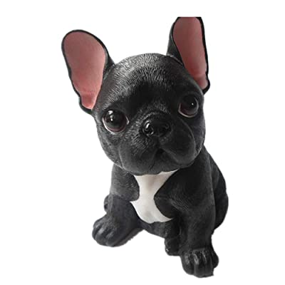 MonLiya Garden Decor High Emulation Resin Creative Cute French Bulldog Garden Statue Crafts Dog Lover Gift Sculpture Patio Lawn Courtyard Home Decoration Animal Figurine Indoor Outdoor (Black Color) : Garden & Outdoor