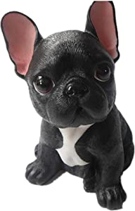 MonLiya Garden Decor High Emulation Resin Creative Cute French Bulldog Garden Statue Crafts Dog Lover Gift Sculpture Patio Lawn Courtyard Home Decoration Animal Figurine Indoor Outdoor (Black Color)