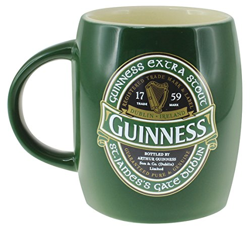 Green Ceramic Barrell Mug with St James Gate Label - Guinness Ireland - Ireland Collection