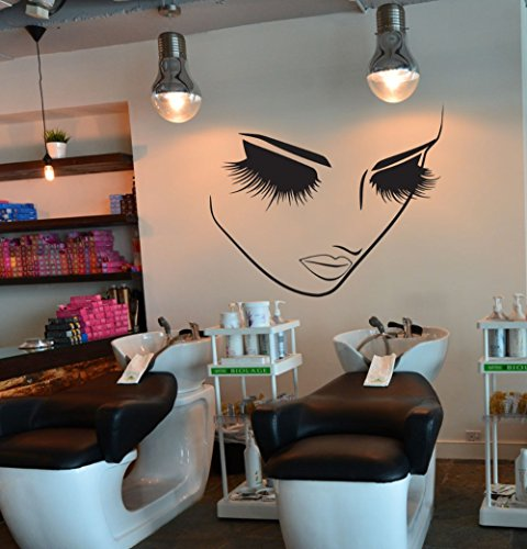 Fashion Removable Beauty Lashes Eyes Wall Decal Women Face Spa Salon Decor Sticker Home Decor Bedroom Art Vinyl Wall Sticker A-94 (Black) by YOYOYU ART HOME DECOR (Image #3)
