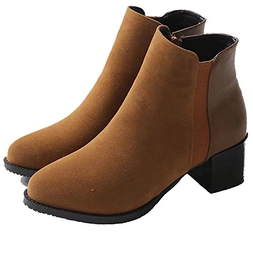 KingRover Women's Ladies Pointed Toe Block Heel Riding Biker Zipper Chelsea Ankle Boots Size UK 1-13 UAvS7