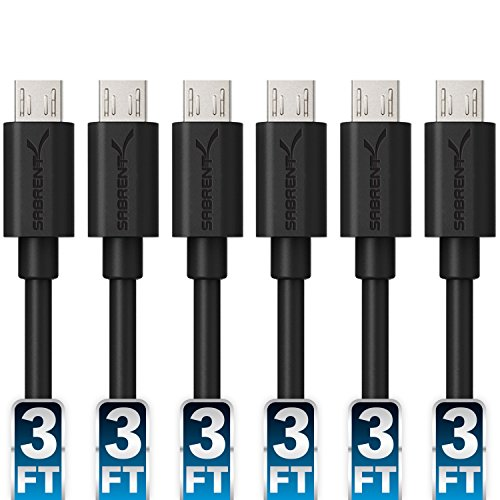 Sabrent [6-Pack] 22AWG Premium 3ft Micro USB Cables High Speed USB 2.0 A Male to Micro B Sync and Charge Cables [Black] (CB-UM63) (Battery Pack Usb Hub)