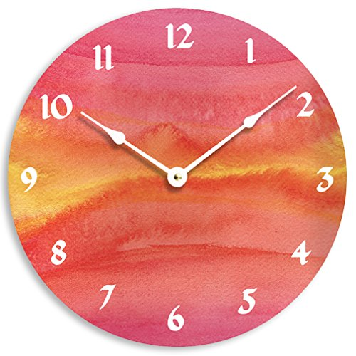 Contemporary 10 inch wall or kitchen clock. Red, orange and yellow abstract watercolor design