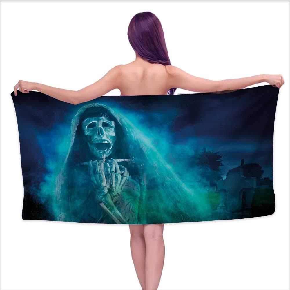 Onefzc Gym Towel Halloween Gothic Dark Backdrop with a Dead Ghost Skull Mystical Haunted Horror Themed Digital Art for Bathroom, Shower Towel, Gym W63 x L31 Blue