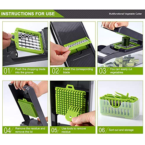 Vegetable Chopper, Onion Chopper Mandoline Slicer Cutter Interchangeable Blades with Durable Fruit Slicer Cutter Container for Cooking Tools (Green)