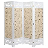 Asian Oriental Design Large White & Beige Wooden 4 Panel Folding Room Divider / Indoor Privacy Screen