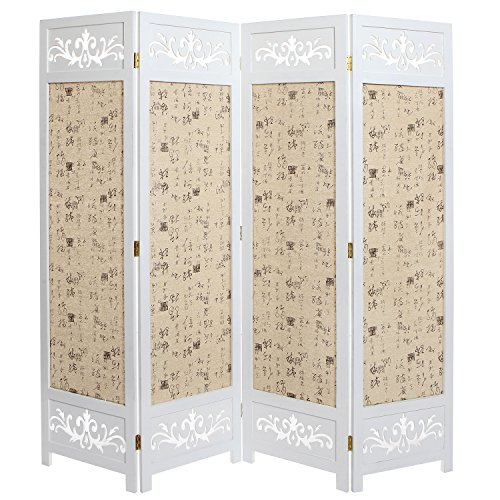 Wooden Folding Screen - Asian Oriental Design Large White & Beige Wooden 4 Panel Folding Room Divider / Indoor Privacy Screen