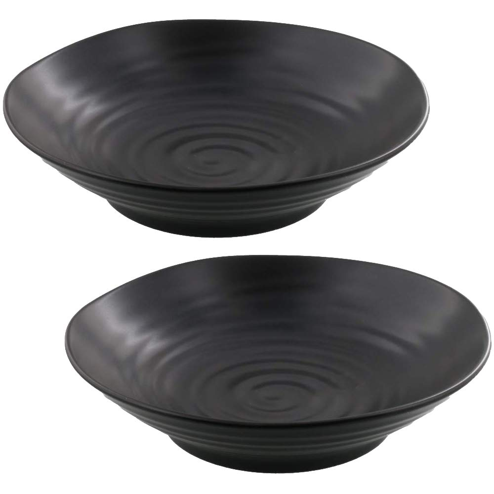 Zen Table Japan Stylish and Versatile Bowl Plate Matte Black Set of 2 -Made in Japan
