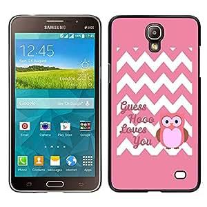 Samsung Galaxy Mega 2 / SM-G750F / G7508 Único Patrón Plástico Duro Fundas Cover Cubre Hard Case Cover - Chevron Quote Owl Pink Love You White