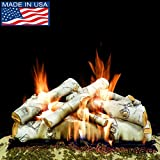 Myard DELUXE 30'' inches SIERRA BIRCH Style Complete Fire Gas Logs Set with HEARTH KIT for Vented Gas Fireplace