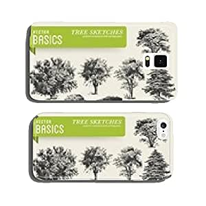 vector elements: tree sketches cell phone cover case iPhone6 Plus