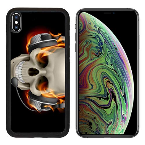 MSD Apple iPhone Xs MAX Case Aluminum Backplate Bumper Snap Case Image ID: 13444537 Flaming Skull with Headphones Illustration on Black Background