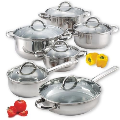 12 Piece Cookware Set pots stainless steel pans aluminum Induction 10 8