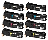 Speedy Inks – Compatible Xerox Set of 8 Toner Cartridges for Phaser 6500, WorkCentre 6505 Printers: 2 Black, 2 …, Office Central