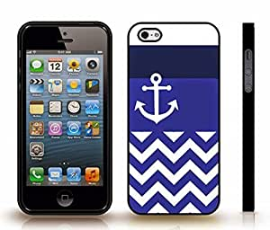 Case For Ipod Touch 4 Cover with Chevron Pattern White/ Navy Blue/Royal Blue Stripes White Anchor , Snap-on Cover, Hard Carrying Case (Black)