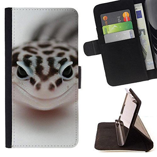God Garden - FOR Apple Iphone 6 - Leopard Gecko - Glitter Teal Purple Sparkling Watercolor Personalized Design Custom Style PU Leather Case Wallet Fli