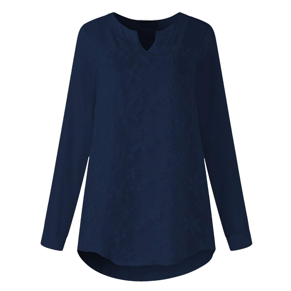 bluee Floral Embroidery Lace Shirt Plus Size Long Sleeve V Neck Women's Blouse