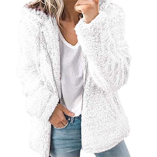Open Stitch Coat Women Autumn Long Sleeve Thick Hooded Jacket Cardigan White (Autumn Stitches)