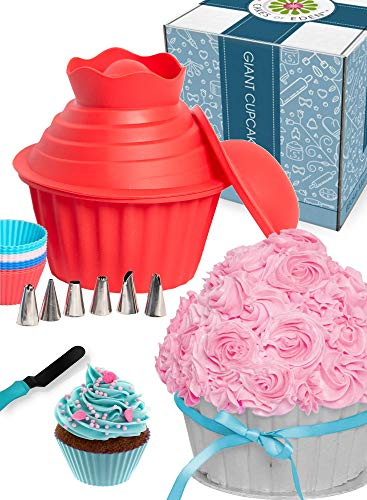 OMG Giant Cupcake Mold Pan - Huge Fun, Jumbo Smash Cake Big Silicone, Extra Large Cake Decorating Supplies, Icing Piping Bags Tips, Muffin Liner Cups, Oversize Baking and Frosting Accessories Gift Set
