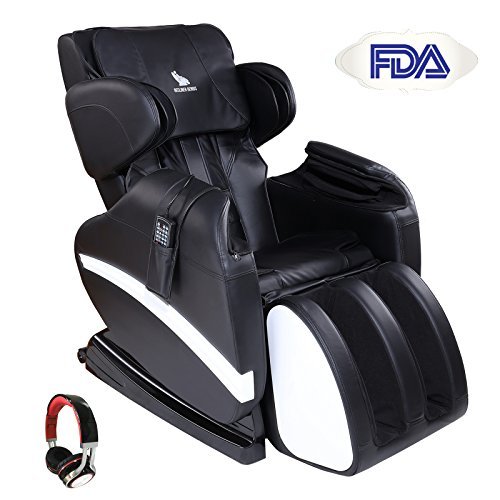 Mecor Full Body Massage Chair Zero Gravity Shiatsu Heated Massager Recliner with Stretched Foot Rest,Airbag/Rolling Massage System,Music Function,Black - Audio Recliner Chair