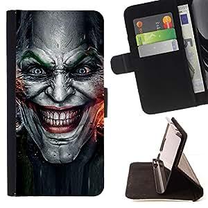 For LG OPTIMUS L90 Evil Joker Villain Face Style PU Leather Case Wallet Flip Stand Flap Closure Cover