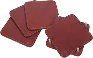 product image for Col. Littleton Genuine Italian Leather Square Coasters | Made in USA | Set of 4