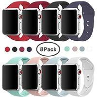 AdMaster Sport - Correa de repuesto para Apple Watch, 1.654in, 1.496in, silicona suave, para Apple Watch Sport, Series 3, Series 2, Series 1, S/M, M/L