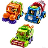 WolVol (Set of 3) Push and Go Friction Powered Car Toys for Boys - Street Sweeper Truck, Cement Mixer Truck, Harvester Toy Truck (Cars Have Automatic Functions)