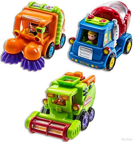 WolVol (Set of 3) Push and Go Friction Powered Car Toys for Boys - Street Sweeper Truck, Cement Mixer Truck, Harvester Toy Truck