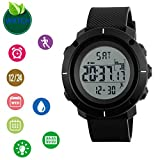 Men's Digital Watch Sports Watch LED Screen Large Face Watches Waterproof Casual Luminous Stopwatch Alarm Simple Watch Include Pedometer, Time, Week, Date, Chronograph and EL Light (Pedometer)