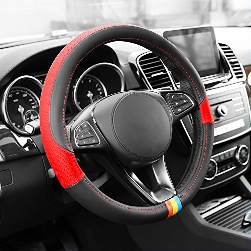 FH Group FH2008RED Full Spectrum Genuine Leather Steering Wheel Cover, 1 Pack