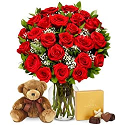From You Flowers - Two Dozen Long Stemmed Red Roses with Godiva Chocolates & Bear (Free Vase Included) for Valentine's Day