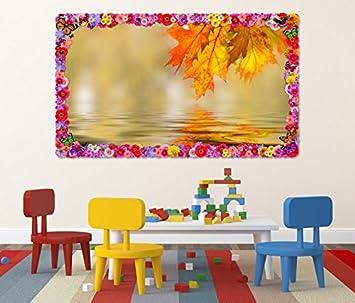 3d Wandtattoo Blatt Herbst Wald Wetter Wasser Bunt Blumen Rahmen
