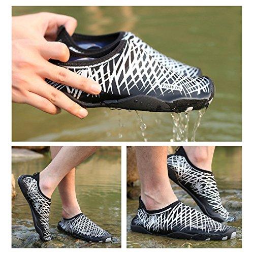 Smapavic Wasser Schuhe Für Frauen Männer Aqua Socken Barfuß Quick Dry Leichte Strand Schwimmen Schuhe Weiß