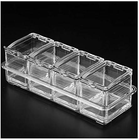 FS Caja Transparente de condimentos, Caja de condimentos de plástico Contenedor de Almacenamiento de la Cocina Hogar Azucarero Salero Tarro 25 × 9.5 × 7.5 cm (Color : B): Amazon.es: Hogar