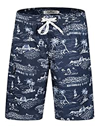 LORVIES Mens Big Wolf Print Beach Board Shorts Quick Dry Swim Trunk