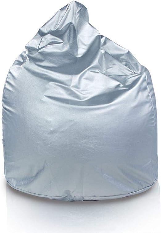 Italpouf - Puff Pera de Polipiel XXL 100 x 130 cm 500l con Funda Extraible Indoor Muy Resistente Moldeable con Relleno (Plata): Amazon.es: Hogar